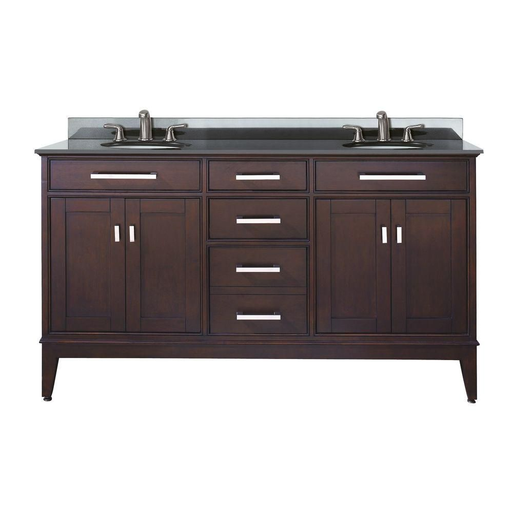 Meuble-lavabo Madison de 60 po au fini espresso clair avec lavabo double et comptoir en granite n...
