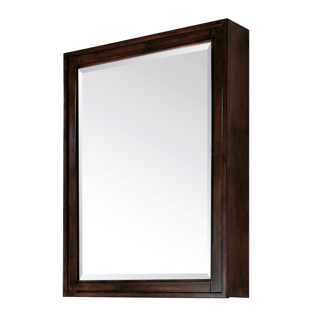 Madison 28 Inch Mirror Cabinet in Light Espresso Finish