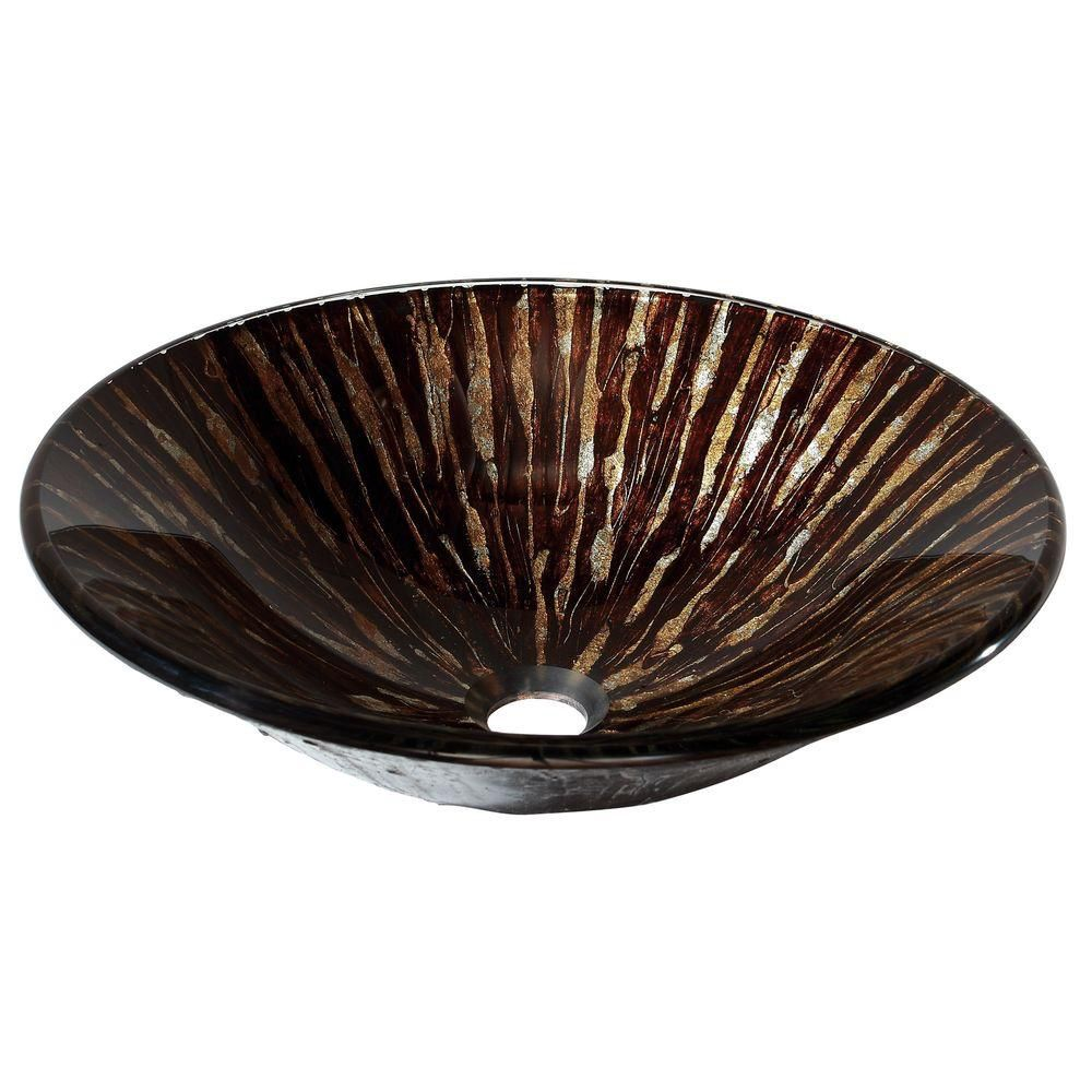 Tempered Glass Vessel in Golden Ebony