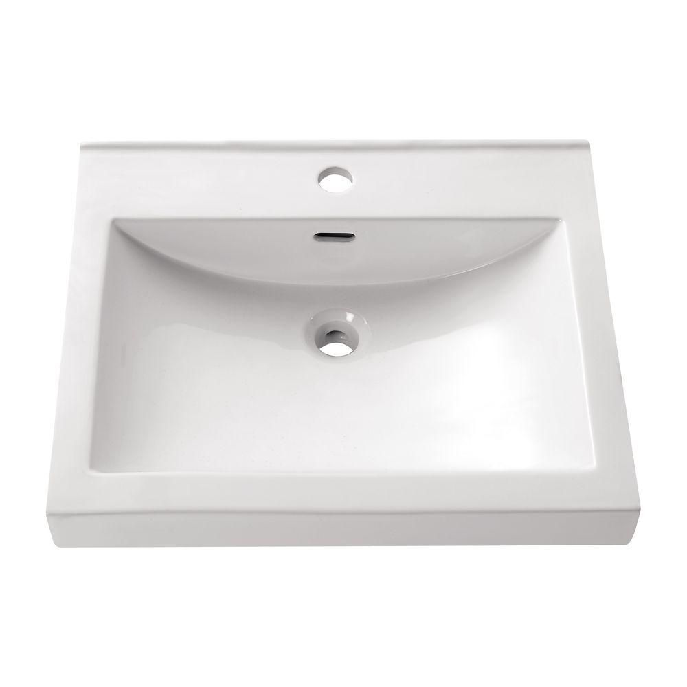 21.7-inch Semi-Recessed Rectangular Sink in White