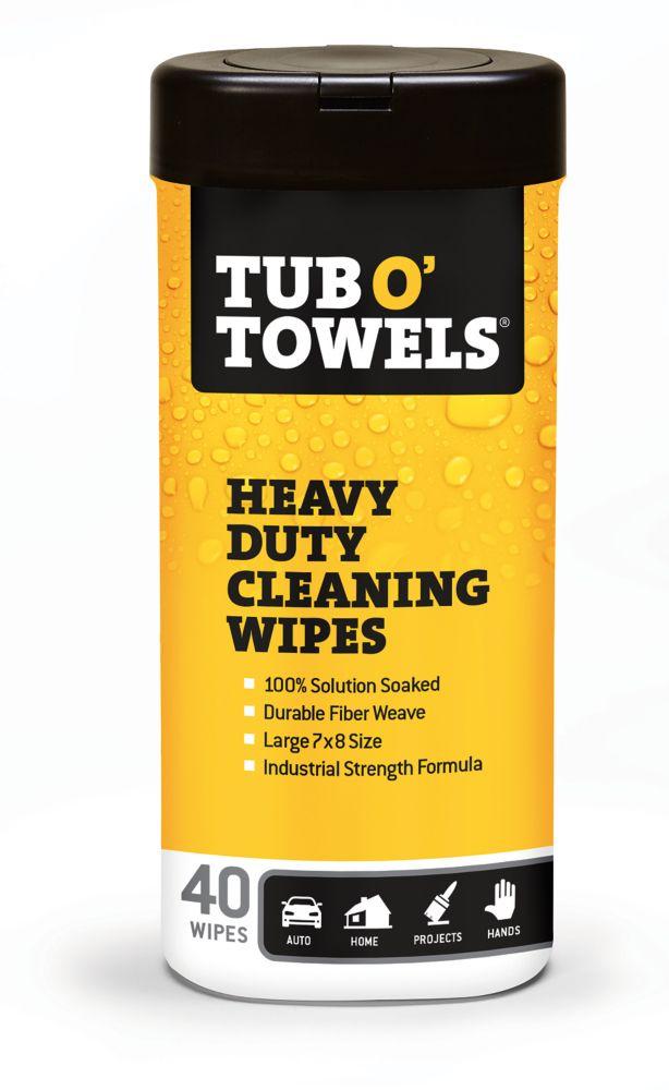 Lingettes de nettoyage industrielles tout-usage Tub OTowels, format 40