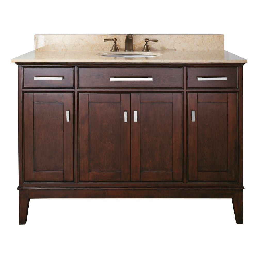 Madison 48-inch W Vanity with Marble Top in Beige and Light Espresso Sink