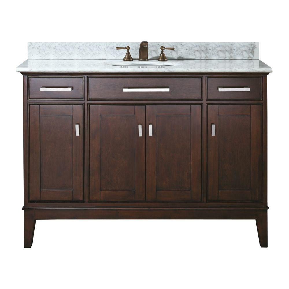 Madison 48-inch W Vanity in Light Espresso Finish with Marble Top in Carrara White