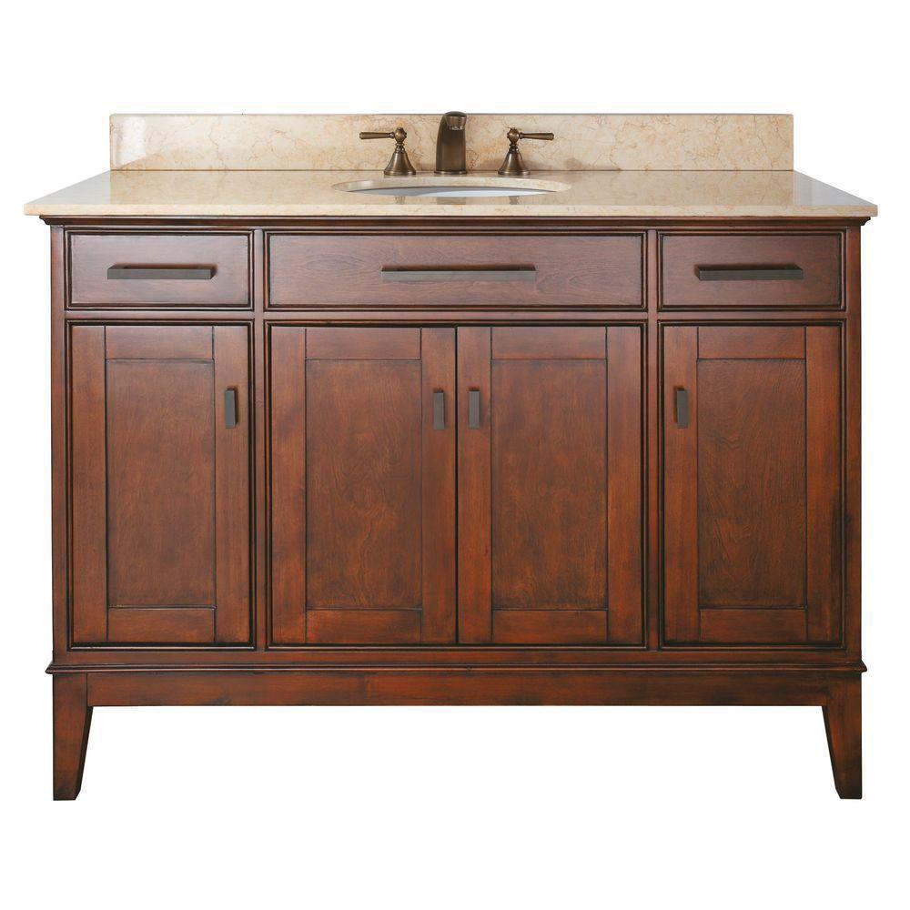 Meuble-lavabo Madison de 48 po au fini tabac avec lavabo et comptoir en marbre beige (Robinet non...