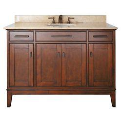 Avanity Madison 49-inch W 2-Drawer Freestanding Vanity in Brown With Marble Top in Beige Tan