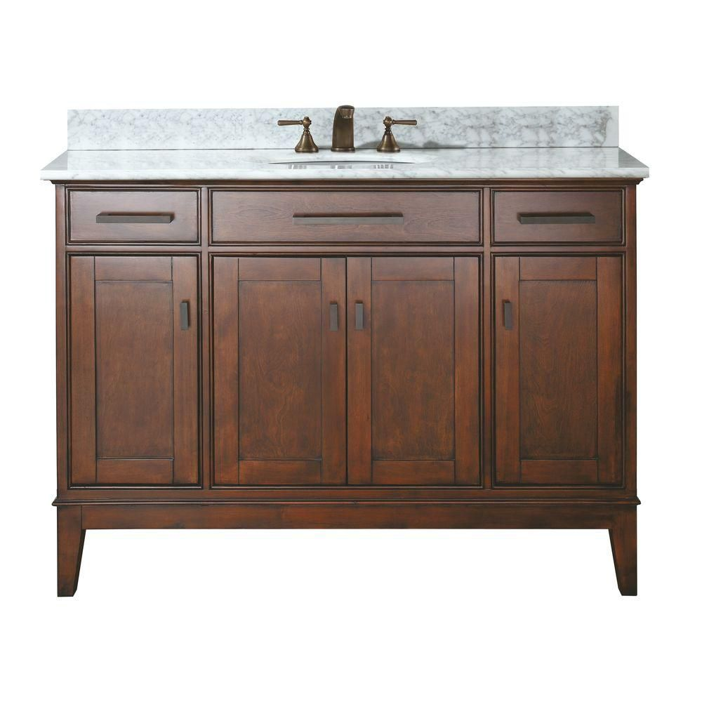 Madison 48-inch W Vanity with Marble Top in Carrara White and Tobacco Sink