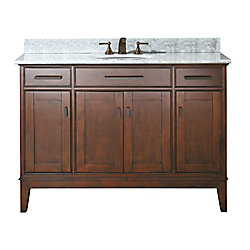 Avanity Madison 49-inch W 2-Drawer Freestanding Vanity in Brown With Marble Top in White