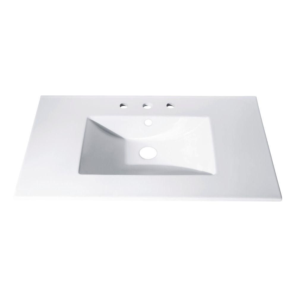 Avanity 31-inch x 22-inch Vitreous China Vanity Top with Rectangular Bowl in White