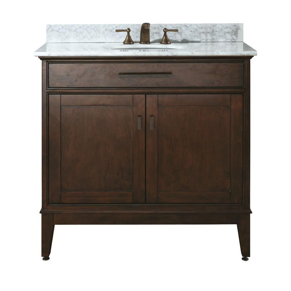 Madison 36-inch W Vanity with Marble Top in Carrara White and Tobacco Sink