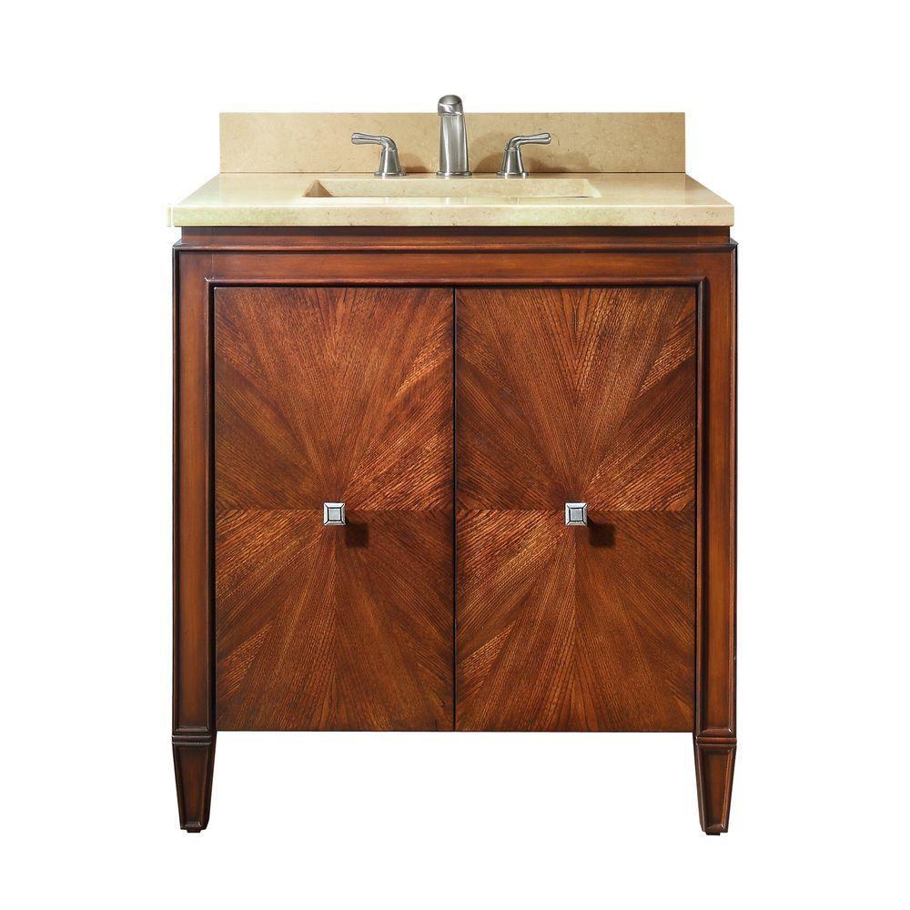 Avanity Brentwood 31-inch W 2-Door Freestanding Vanity in Brown With Marble Top in Beige Tan