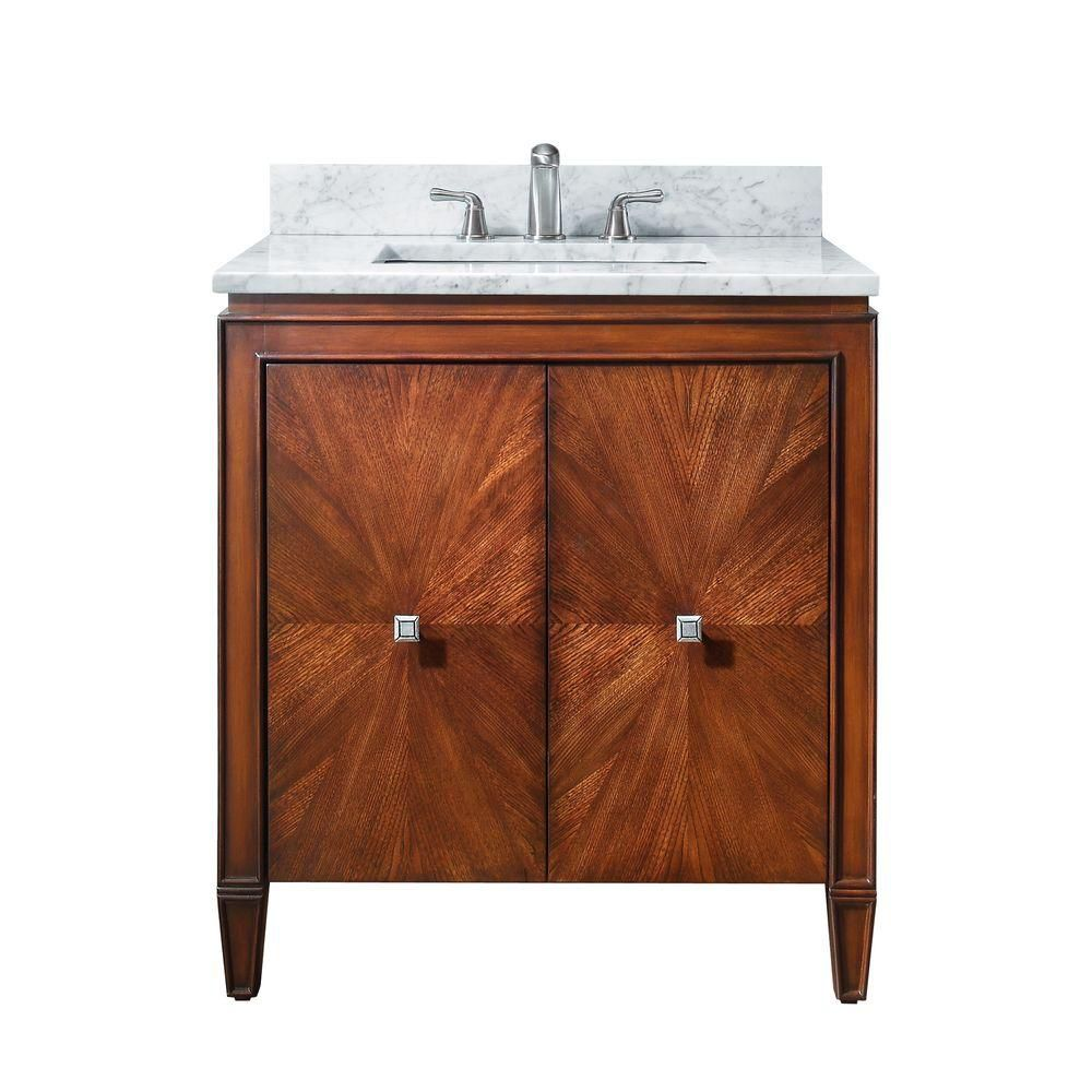 Brentwood 31-inch W Vanity in Walnut Finish with Marble Top in Carrara White