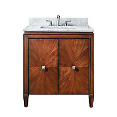 Brentwood 31-inch W 2-Door Freestanding Vanity in Brown With Marble Top in White