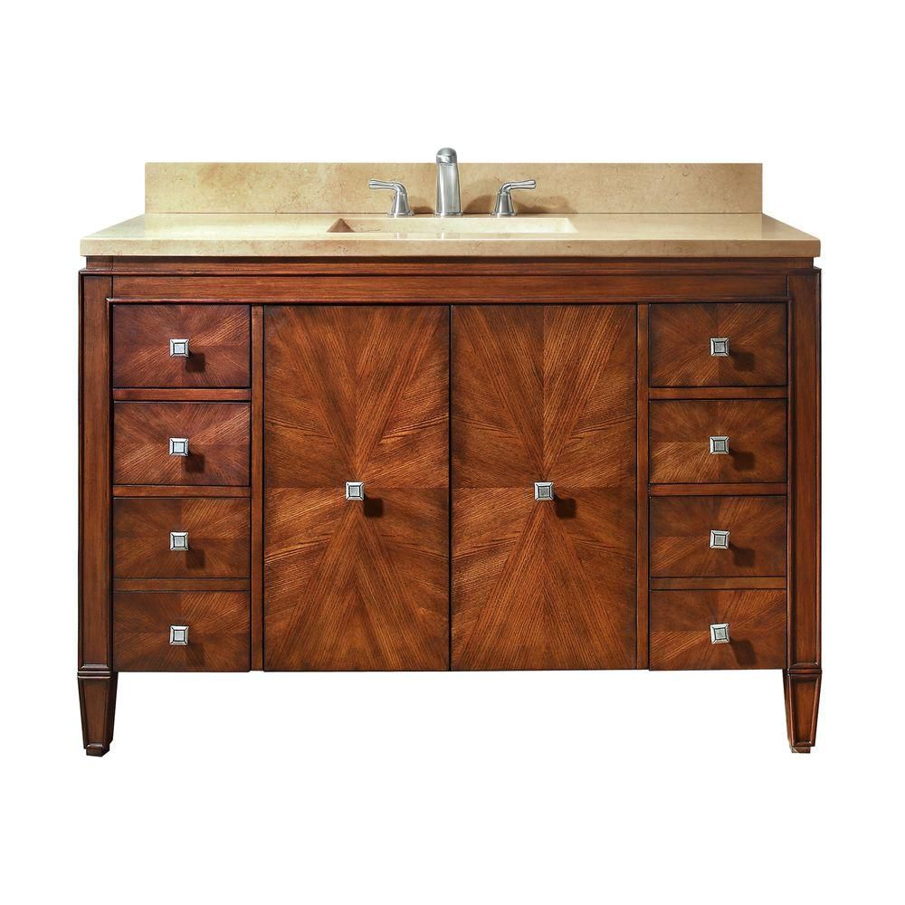 Brentwood 49-inch W Vanity in Walnut Finish with Marble Top in Galala Beige