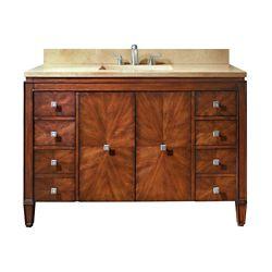 Avanity Brentwood 49-inch W 6-Drawer 2-Door Freestanding Vanity in Brown With Marble Top in Beige Tan