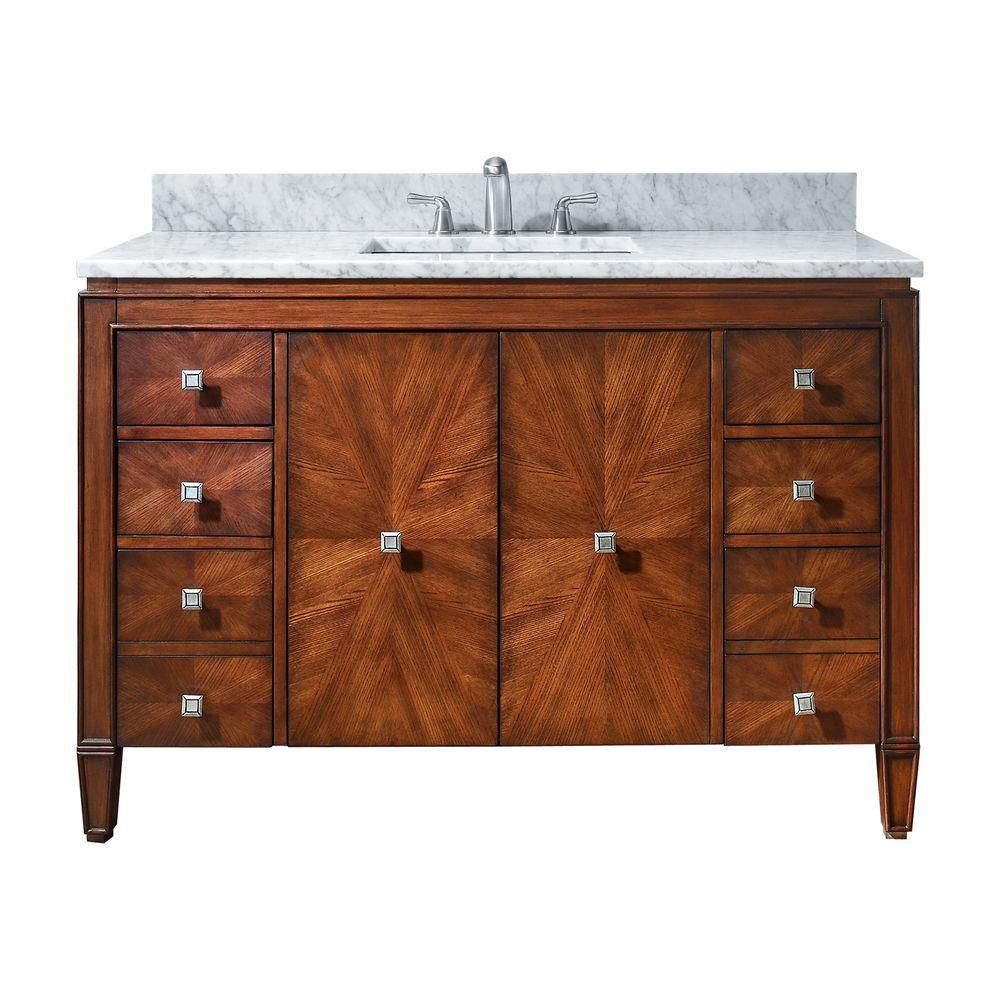 Avanity Brentwood 49-inch W 6-Drawer 2-Door Freestanding Vanity in Brown With Marble Top in White