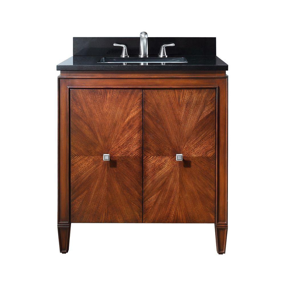 Meuble-lavabo Brentwood de 31 po au nouveau fini noyer avec comptoir en granite noir (Robinet non...