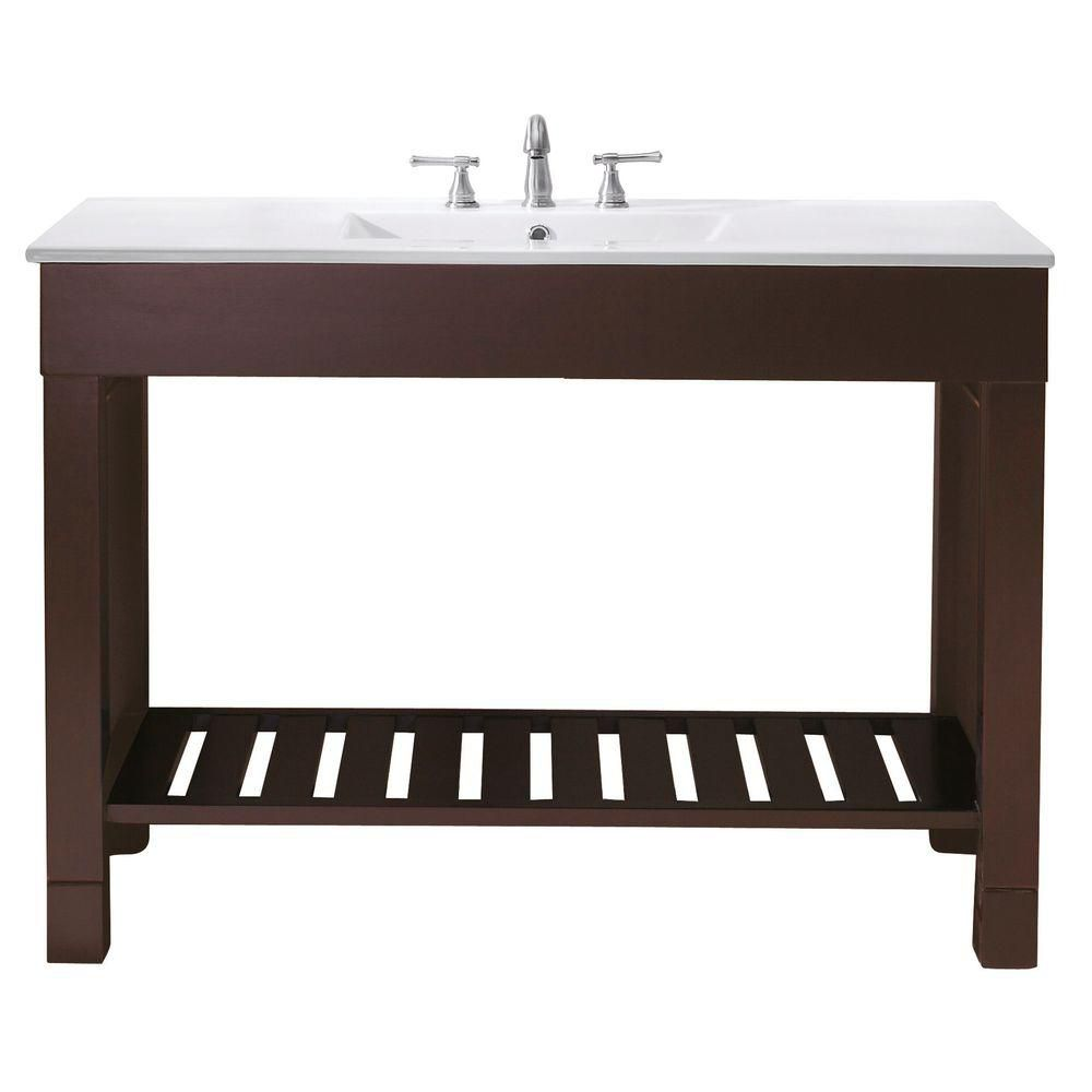 Avanity Loft 49-inch W Freestanding Vanity in Brown With Ceramic Top in White