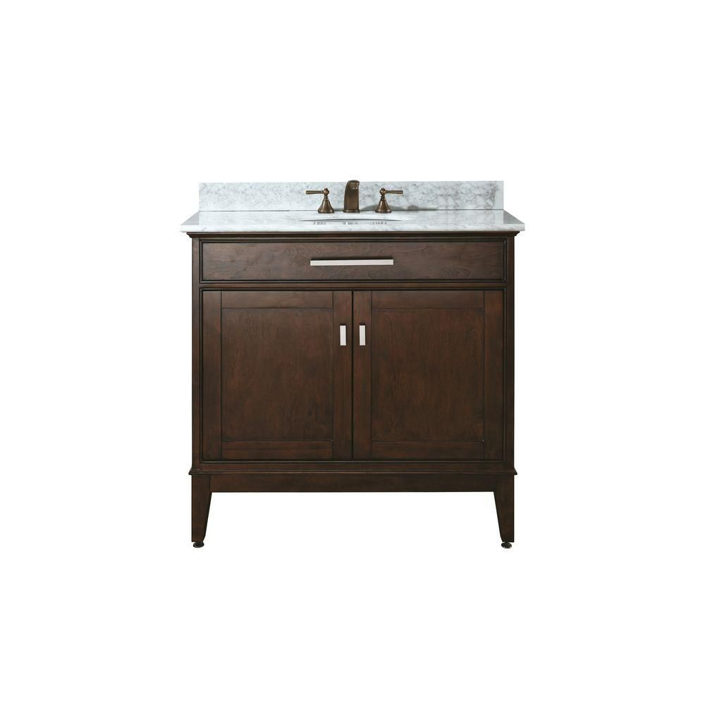 Madison 36-inch W Vanity with Marble Top in Carrara White and Light Espresso Sink