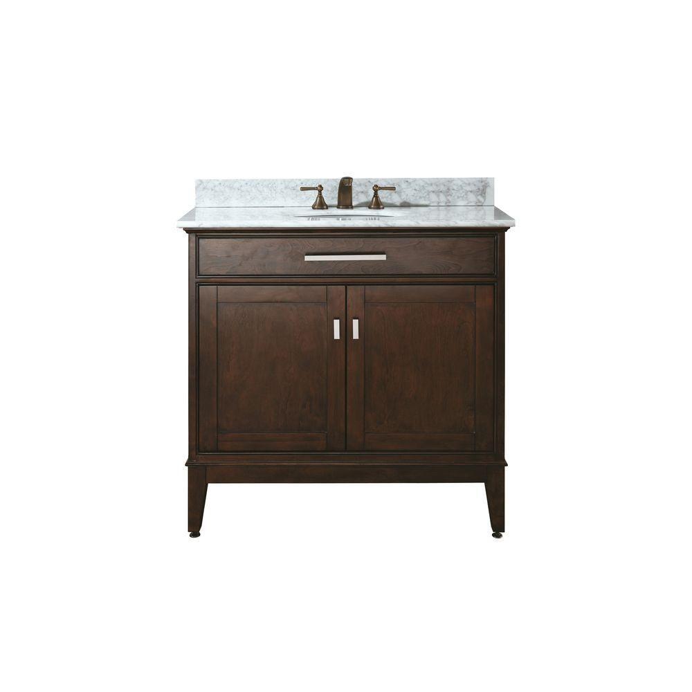 Meuble-lavabo Madison de 36 po au fini espresso clair avec lavabo et comptoir en marbre de Carrar...