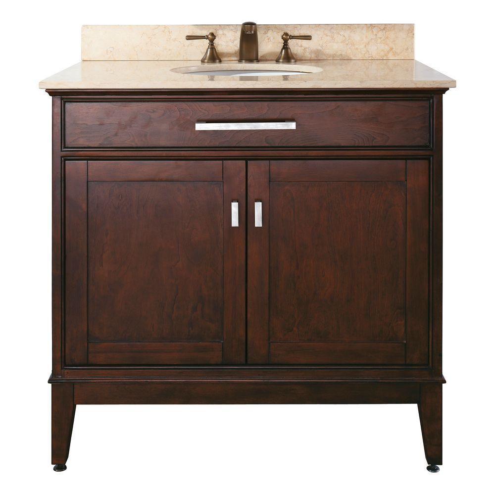 Meuble-lavabo Madison de 36 po au fini espresso clair avec comptoir en marbre beige (Robinet non ...
