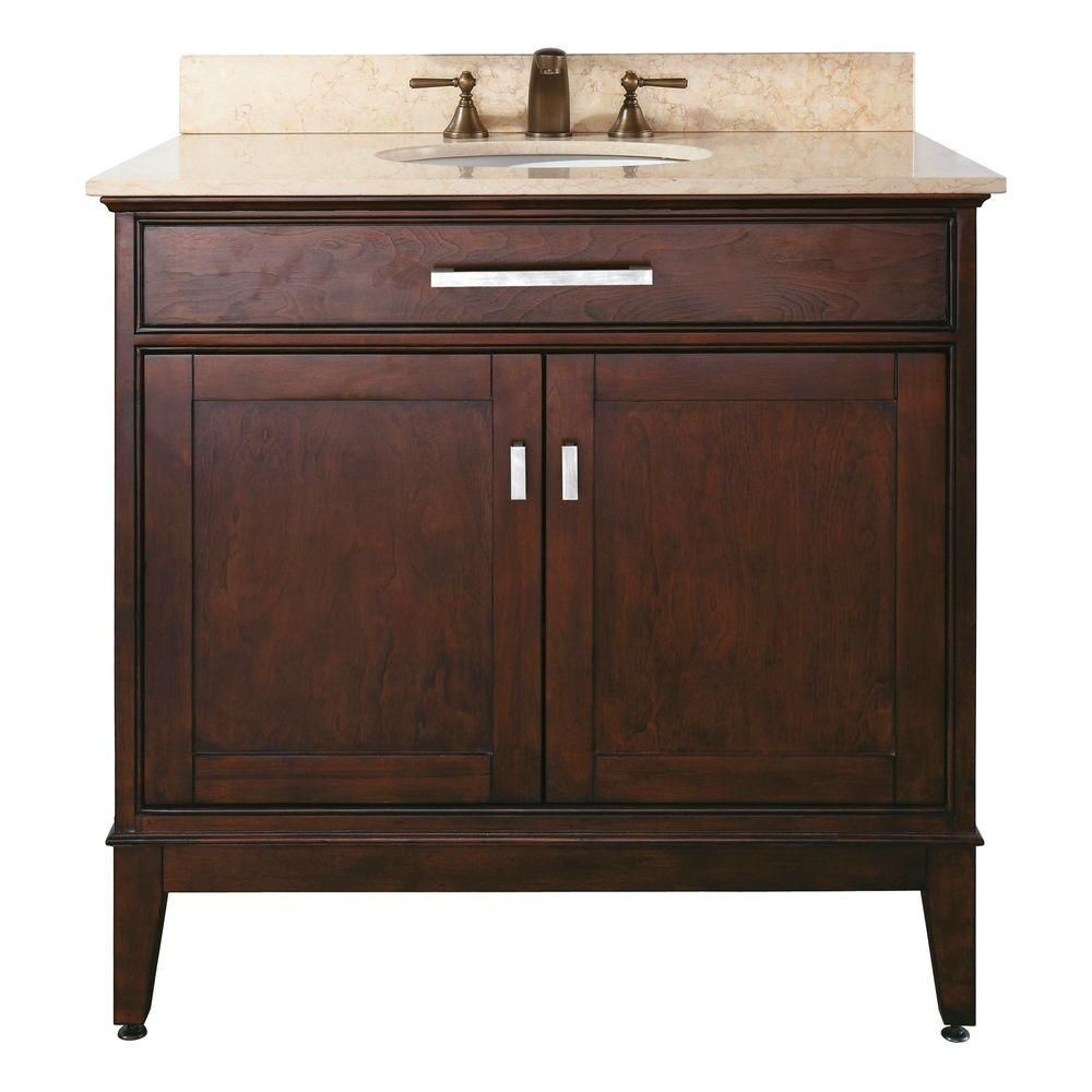 Madison 36-inch W Vanity with Marble Top in Beige and Light Espresso Sink