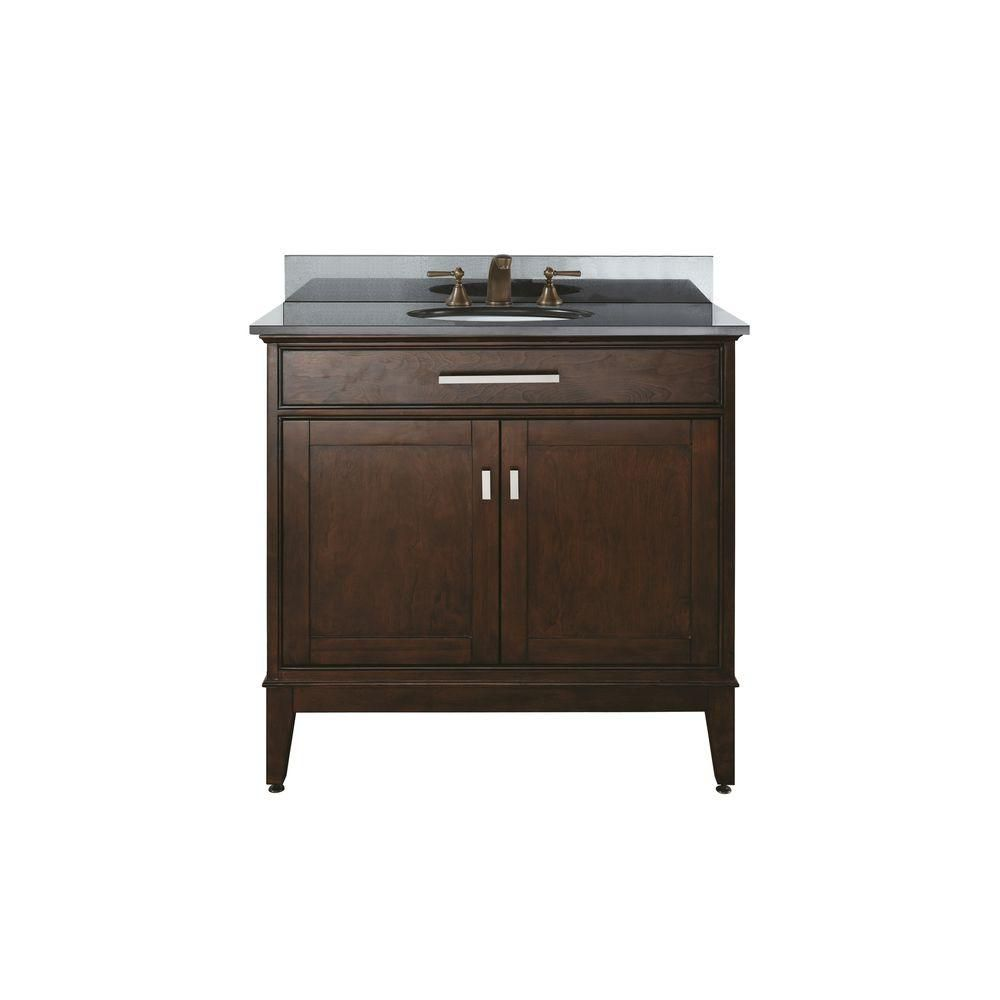Madison 36-inch W Vanity with Granite Top in Black and Light Espresso Sink