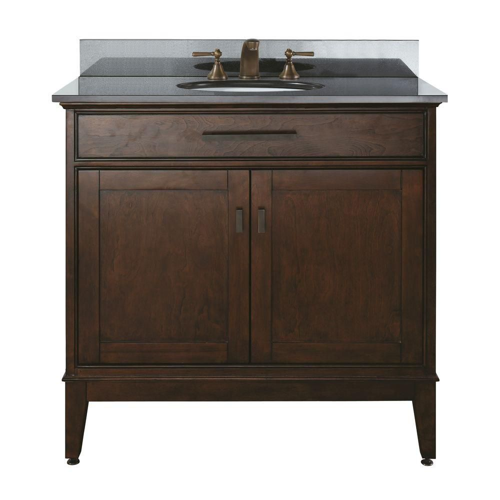 Madison 36-inch W Vanity with Granite Top in Black and Tobacco Sink