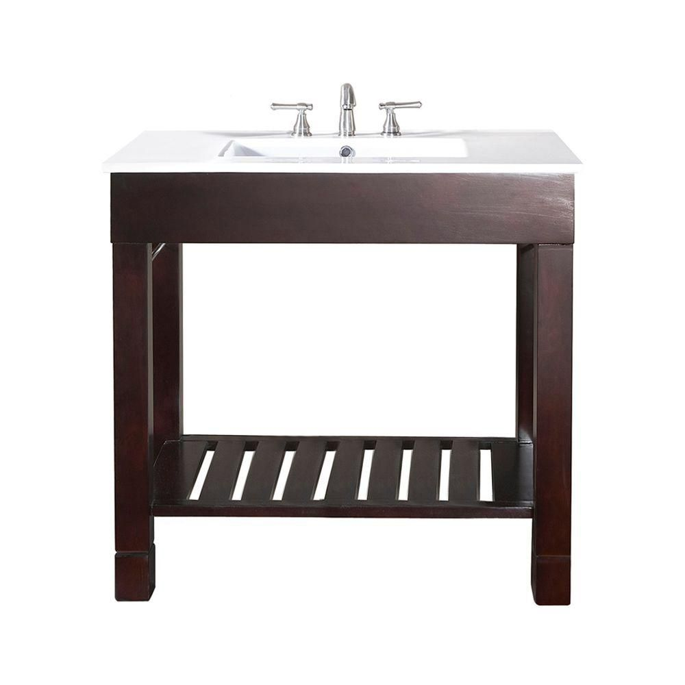 Loft 36-inch W Vanity in Dark Walnut Finish with Integrated Vitreous China Top