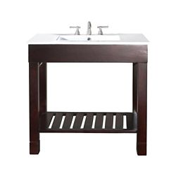 Avanity Loft 37-inch W Freestanding Vanity in Brown With Ceramic Top in White