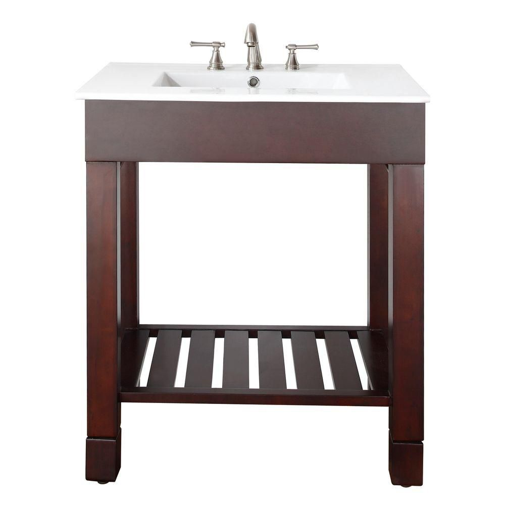 Loft 30-inch W Vanity in Dark Walnut Finish with Integrated Vitreous China Top