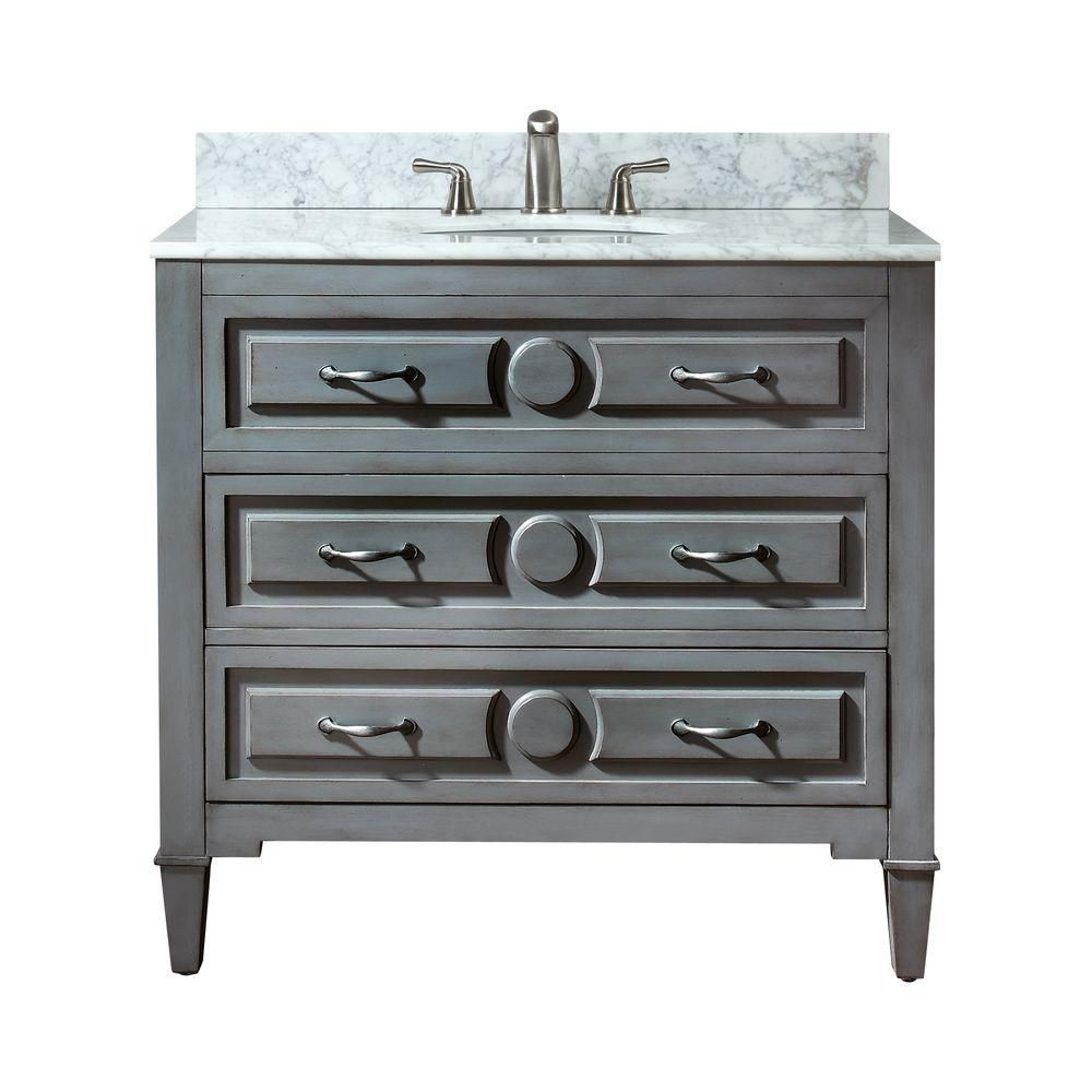 Kelly 36-inch W Vanity in Grey Blue Finish with Marble Top in Carrara White