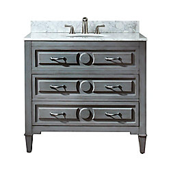 Avanity Kelly 37-inch W 2-Drawer Freestanding Vanity in Grey With Marble Top in White
