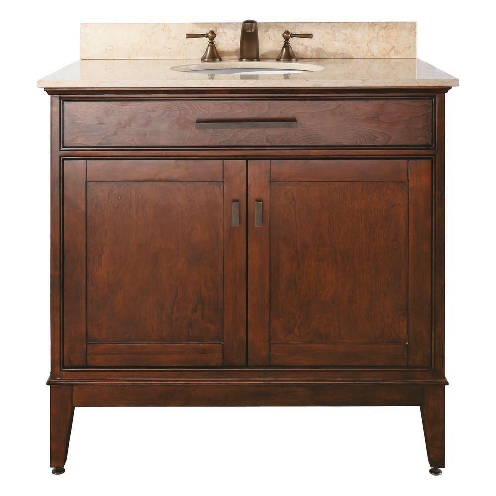 Meuble-lavabo Madison de 36 po au fini tabac avec lavabo et comptoir en marbre beige (Robinet non...