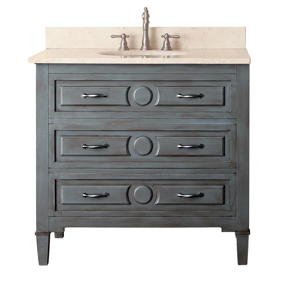 Meuble-lavabo Kelly de 36 po au fini bleu-gris avec comptoir en marbre beige au fini Galala (Robi...
