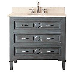 Avanity Kelly 37-inch W 2-Drawer Freestanding Vanity in Grey With Marble Top in Beige Tan