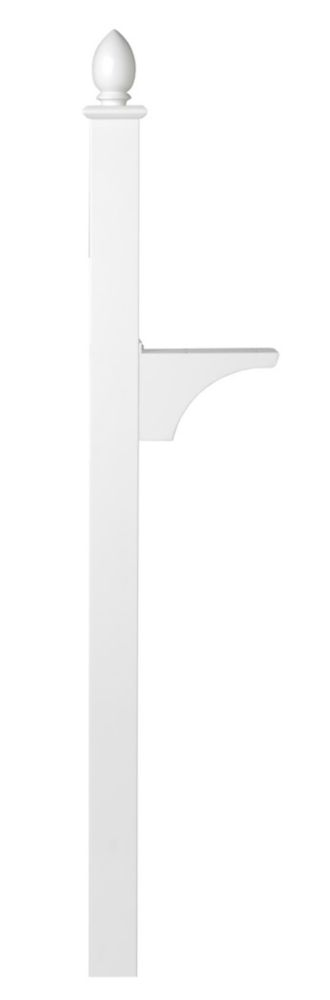 Architectural Mailboxes White Decorative In-ground Side Mount Post