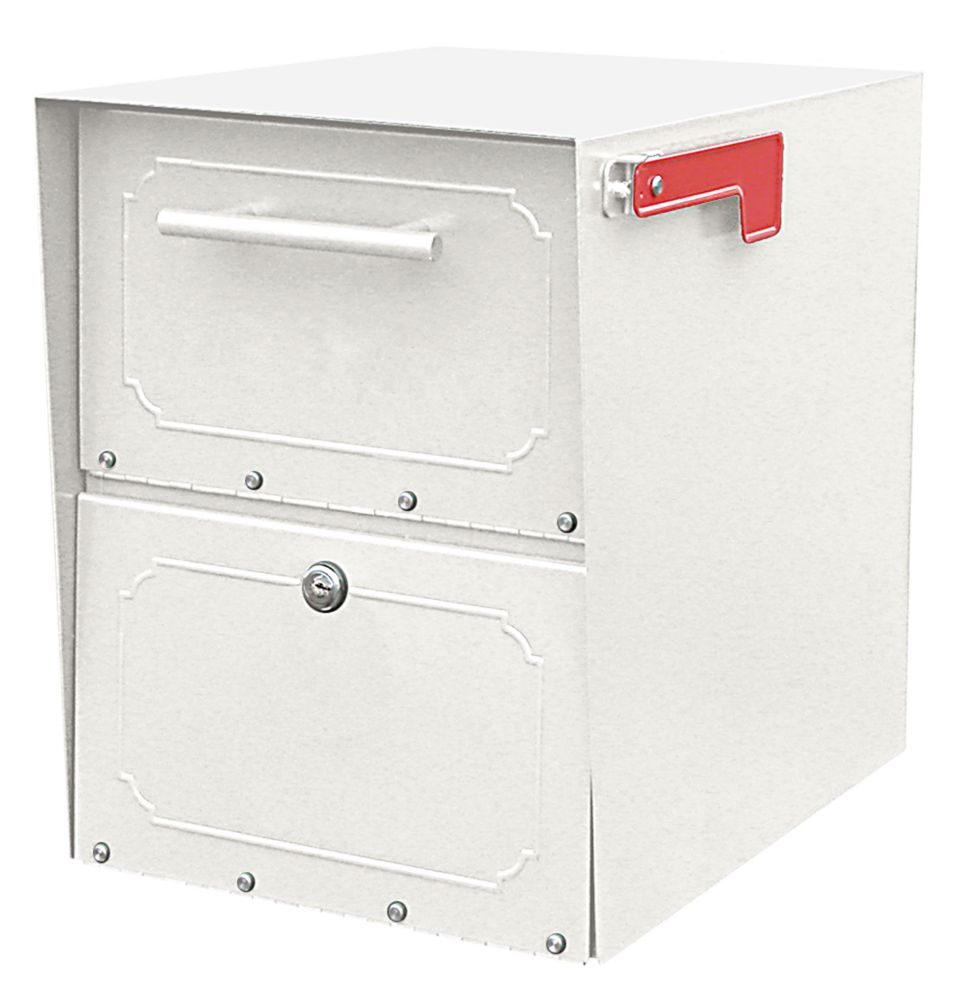 Architectural Mailboxes White Oasis Jr. Locking Post Mount Mailbox