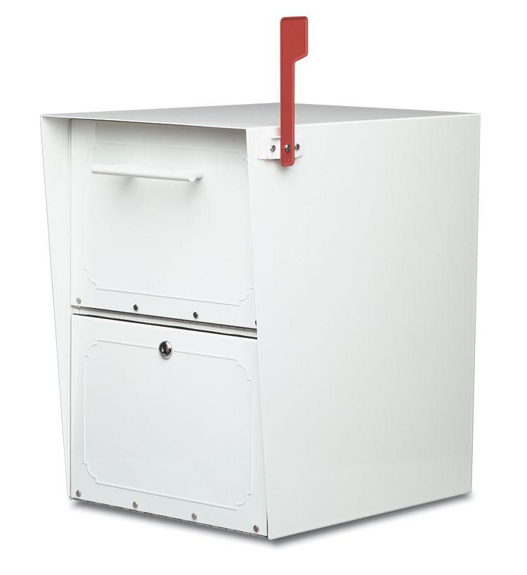 White Oasis Locking Post Mount Mailbox