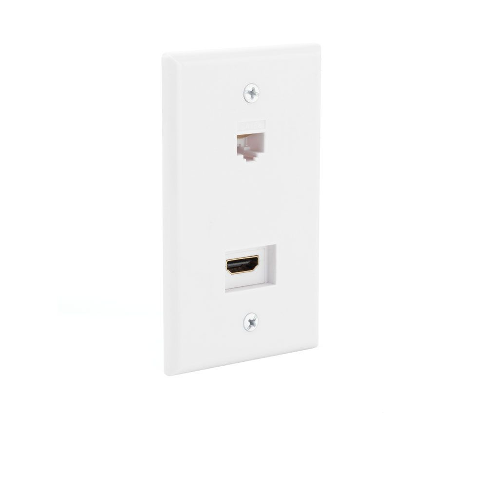 HDMI / Ethernet Wall Plate in White
