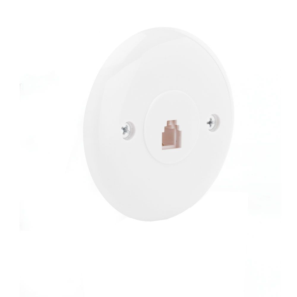 Round Wall Phone Plate White