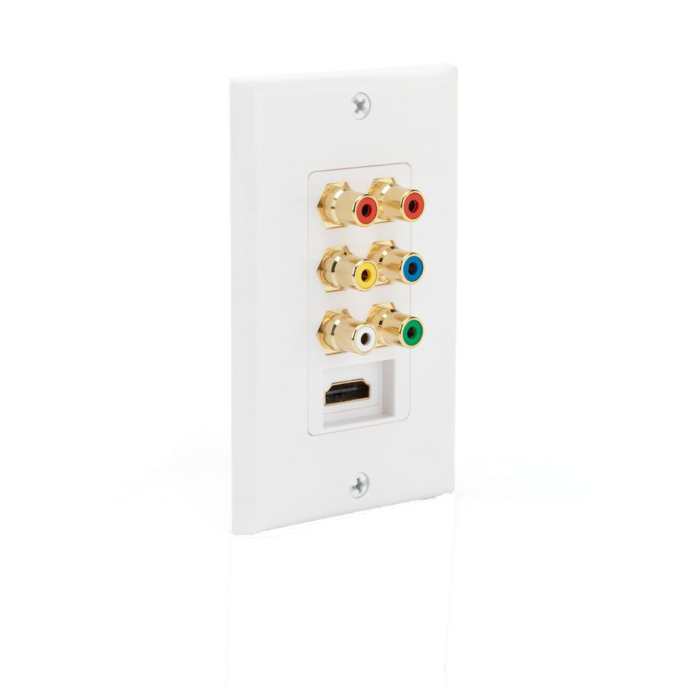 Commercial Electric HDMI / Component Wall Plate in White