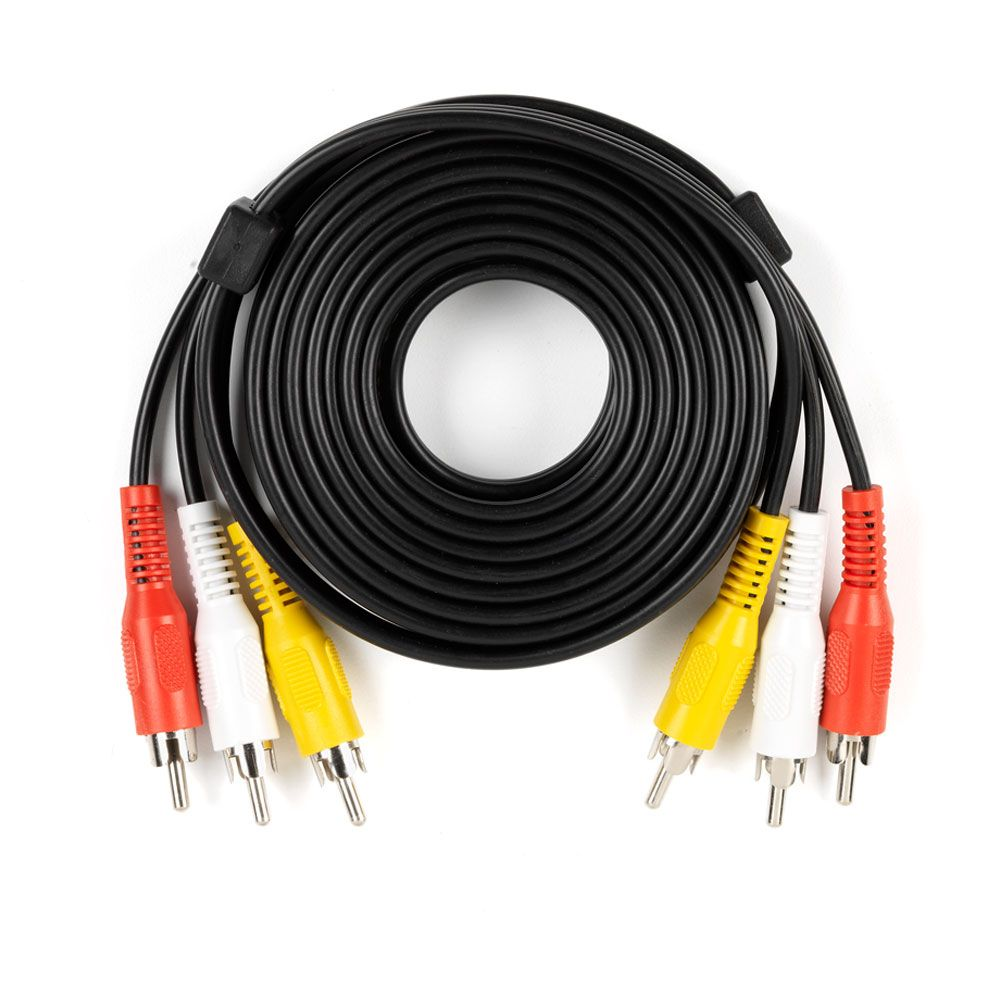 Commercial Electric 12 Feet.Black Audio/Video Cable W/Rca Plugs