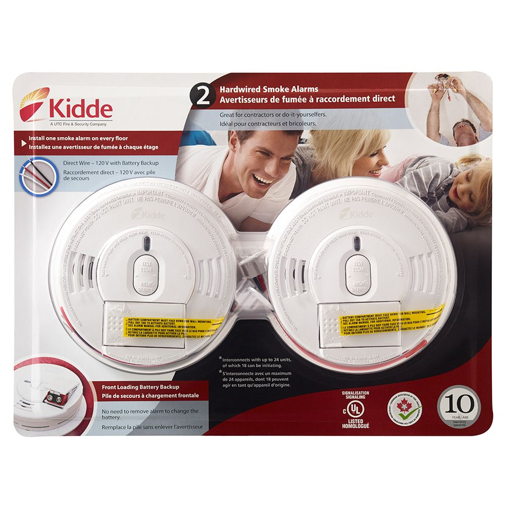 Front Load Smoke Alarm with Hush Hardwire with Battery Backup (2-pack)