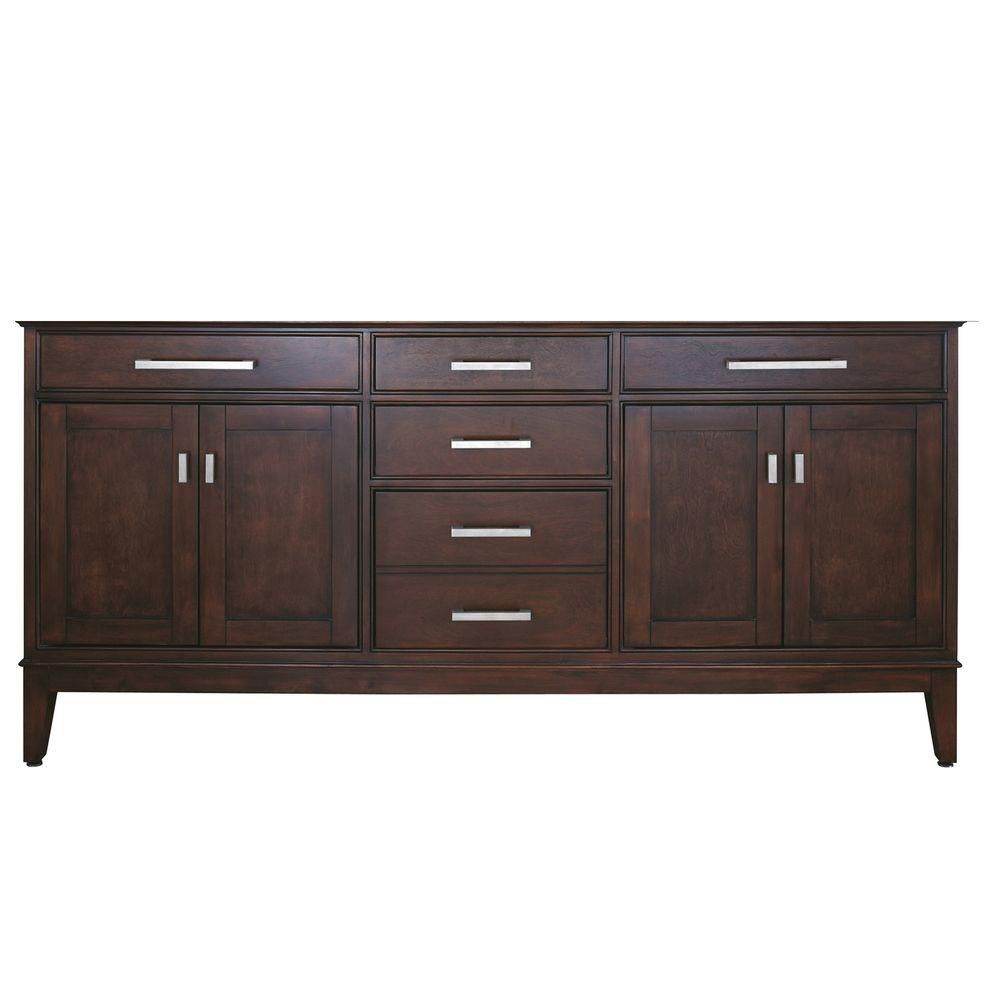 Avanity Madison 72-inch W x 21-inch D x 34-inch H Vanity Cabinet Only in Light Espresso