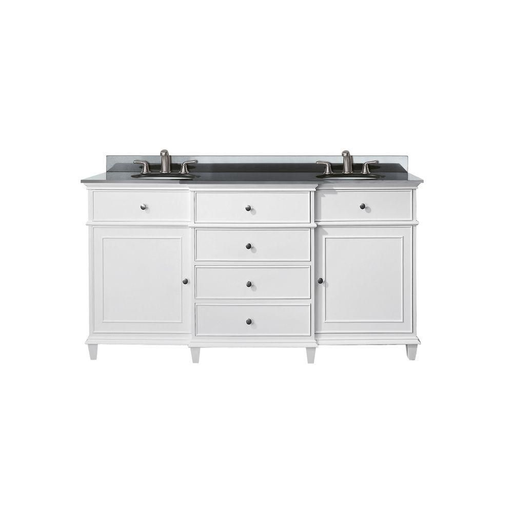 Windsor 60-inch W Double Sink Vanity in White Finish with Granite Top in Black