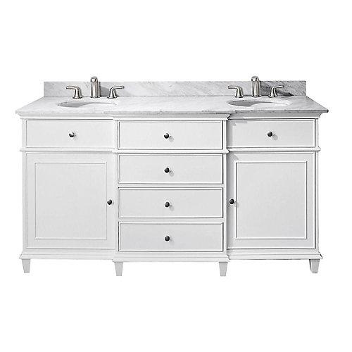 Avanity Meuble lavabo Windsor de 60 po blanc avec lavabo double