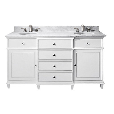 Avanity Windsor 61-inch W 4-Drawer Freestanding Vanity in White With ...