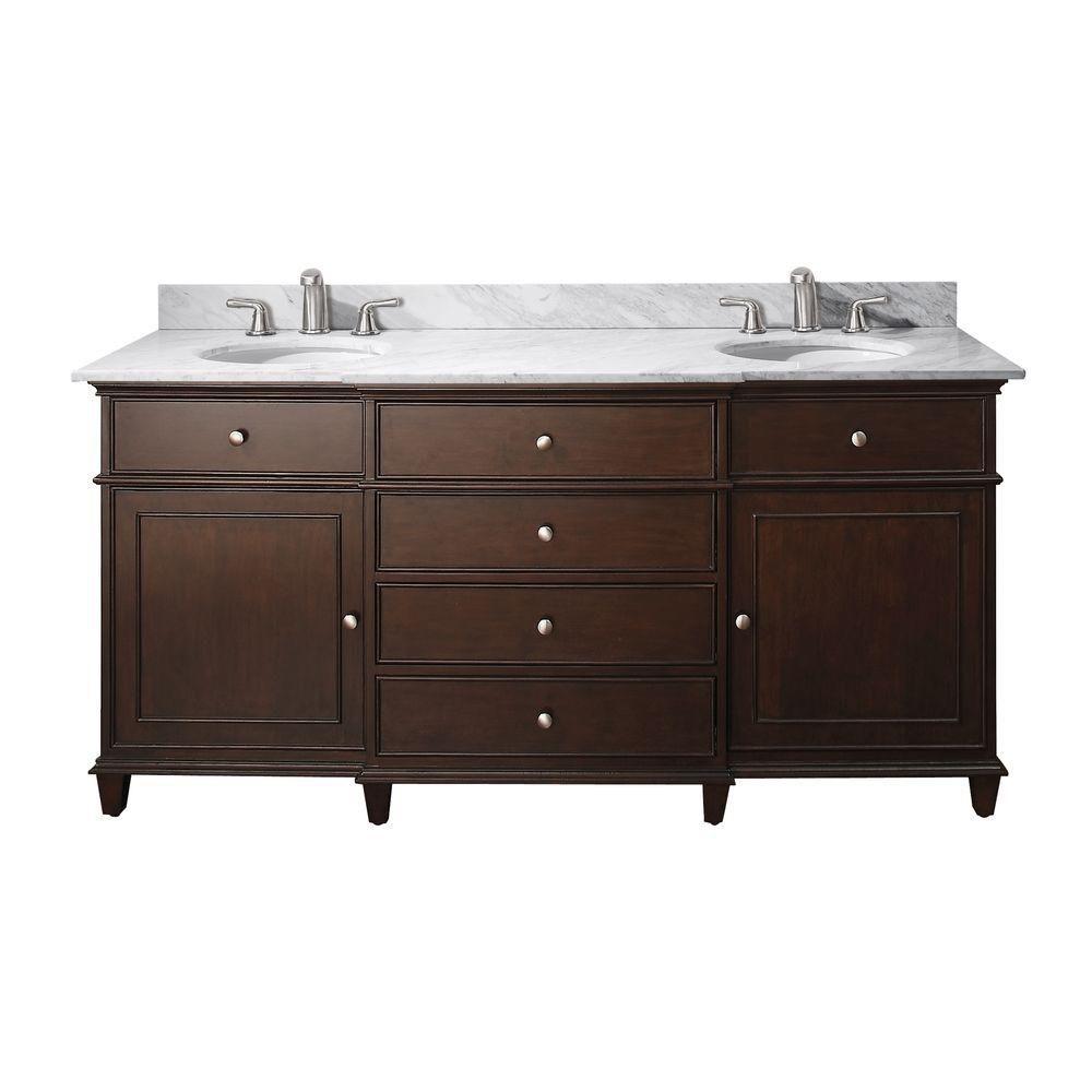 Windsor de 72 po Meuble-lavabo au fini noyer avec lavabo double encastré et comptoir en marbre de...
