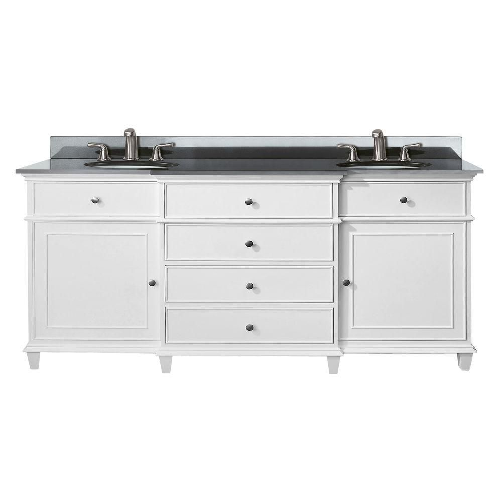 Windsor 72-inch W Vanity with Granite Top in Black and White Dual Sinks