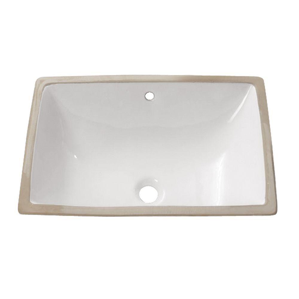 Lavabo rectangulaire encastré de 22po en porcelaine vitrifiée blanche